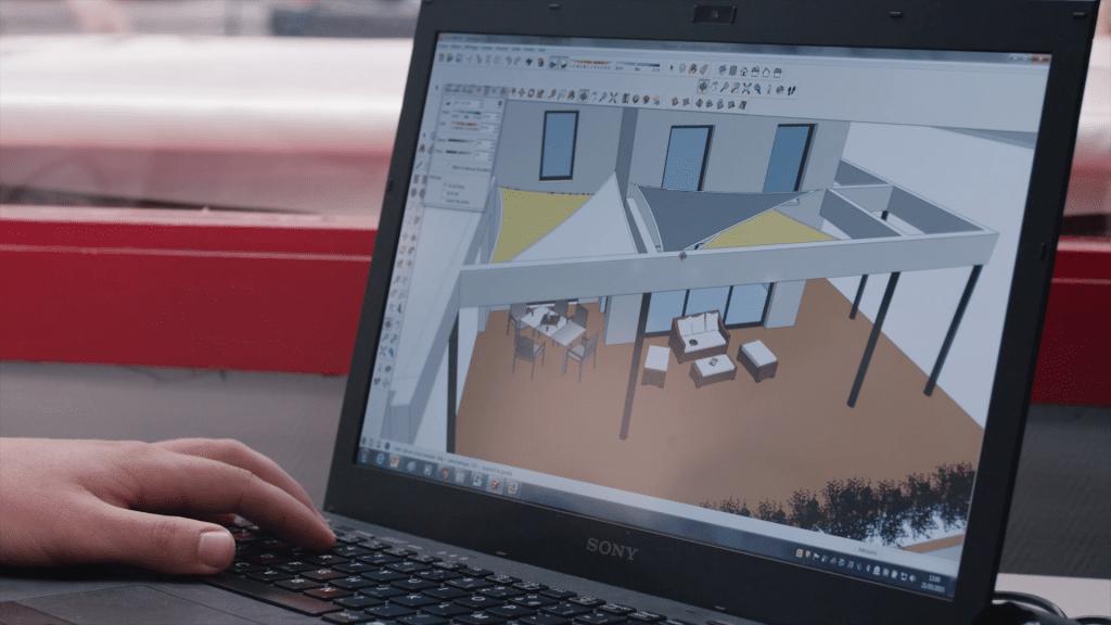 Vue modélisation 3D voile d'ombrage